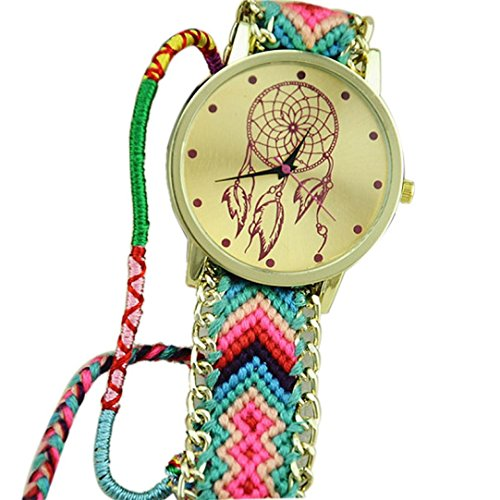 Ularmo Frauen Catcher Freundschaft Braid Armband Uhren Gruen Rosa