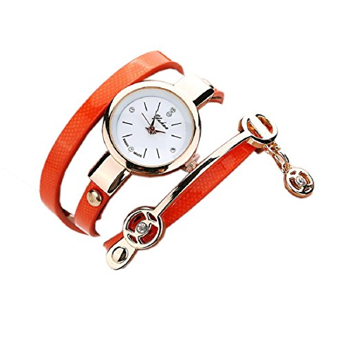 Ularmo Frauen Elegent Metallarmbanduhr Orange