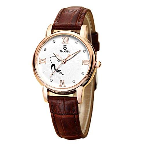 Ularmo Damen Handgefertigte Wasserdicht Ultraduennes Leder Armbanduhren Kaffee