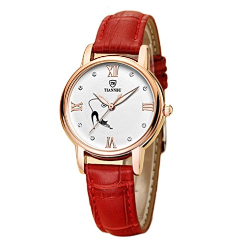 Ularmo Damen Handgefertigte Wasserdicht Ultraduennes Leder Armbanduhren Rot