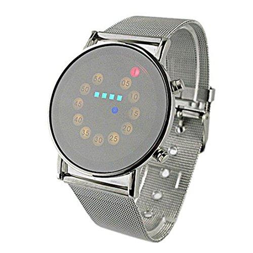 Ularmo Herren Rot Gelb Gruen Blau LED Licht Edelstahl Mode Armbanduhr
