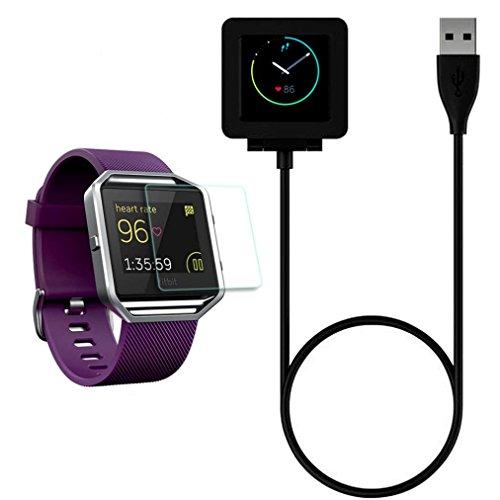 fuer Fitbit Blaze Ularmo Magnetische Wireless Ladestation Cradle Ladegeraet Dock 1PC HD Bildschirm Schutz