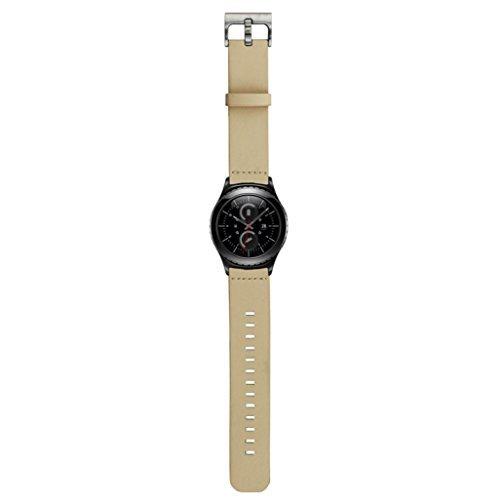 Ularmo fuer Samsung Galaxy Gear S2 Classic SM R732 Echtes Leder Uhrenarmband Weiss