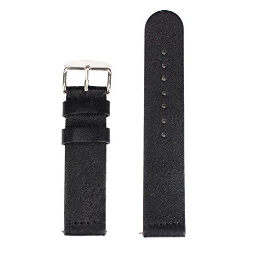 Ularmo fuer Samsung Galaxy Gear S2 Classic SM R732 20mm Echtes Leder Uhrenarmband Schwarz