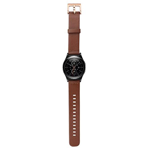 Ularmo fuer Samsung Galaxy Gear S2 Classic SM R732 Echtes Leder Uhrenarmband Braun