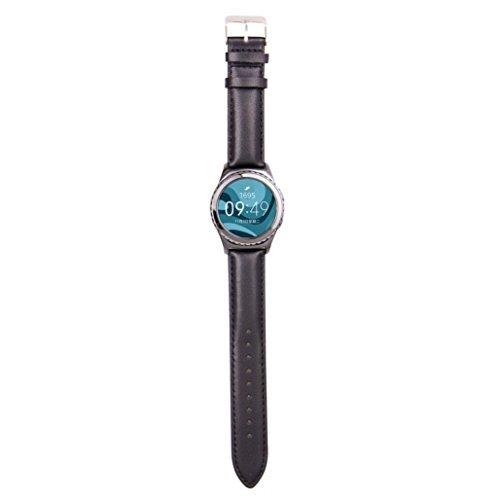 Ularmo fuer Samsung Galaxy Gear S2 Classic R732 Luxus Silikon Uhrenarmband Schwarz