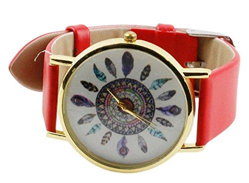YARBAR Arbeiten Sie Elegante Dameuhren Vorzuegliche Pfaufeder Muster Leder Armbanduhr Rote