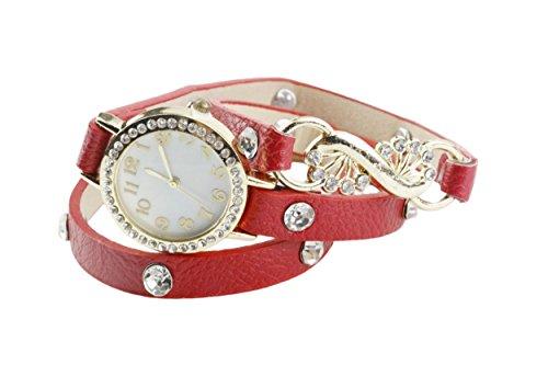 YARBAR Mode Damen Armband Uhren PU Criterium Pteris Blumen Dekoration Diamant Elegante Quarz Uhr