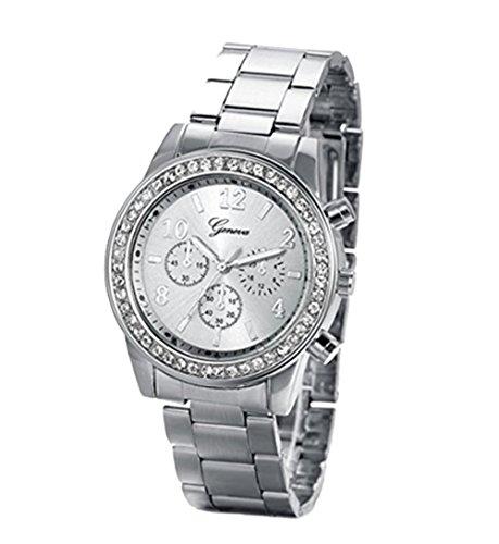 YARBAR Herren Business Casual Elegante Shiny Diamant Quarzuhren Uhren Sliber