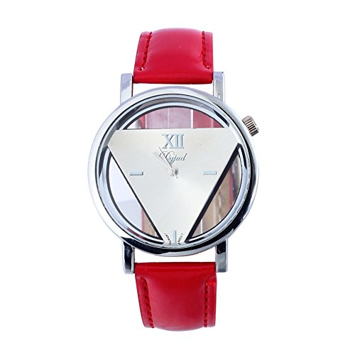 YARBAR Retro Mode Armbanduhr Einfache Hohl Dreieck Uhr Lederuhr Chronograph