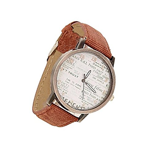 YARBAR Retro Unisex Herren Englische Zeitung PU Leder Freizeit Uhrarmband Quarz Uhren Braun
