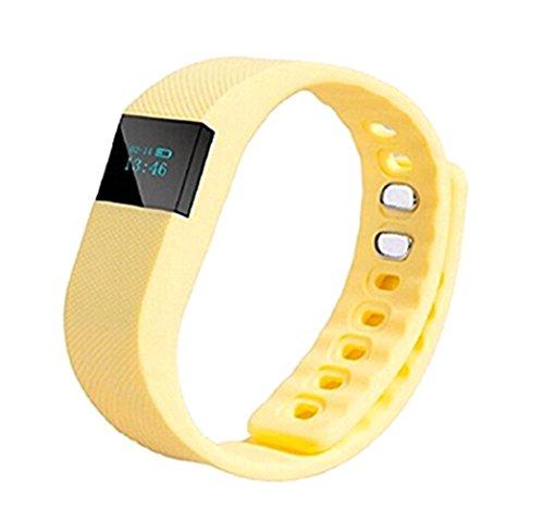 YARBAR Herren Damen TW64 Bluetooth Smart LED Armbanduhr Multifunktionale Sport Pedometer Healthy Monitor Kompatible Android und IOS Systeme Gelb