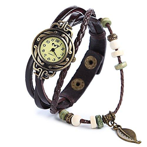 YARBAR Retro Armbanduhr Vintage Uhren Armband Lederband Blatt Anhaenger