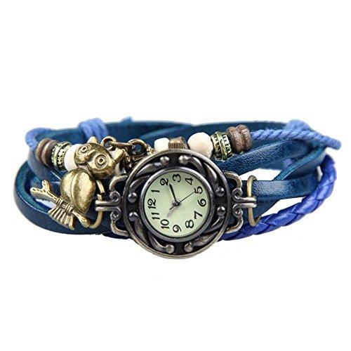 YARBAR Retro Armbanduhr Vintage Uhren Armband Lederband mit Eulenanhaenger