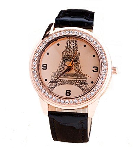 YARBAR Eiffelturm Retro Mode Diamant Uhren Quarzuhr Lederband Uhren Schwarz