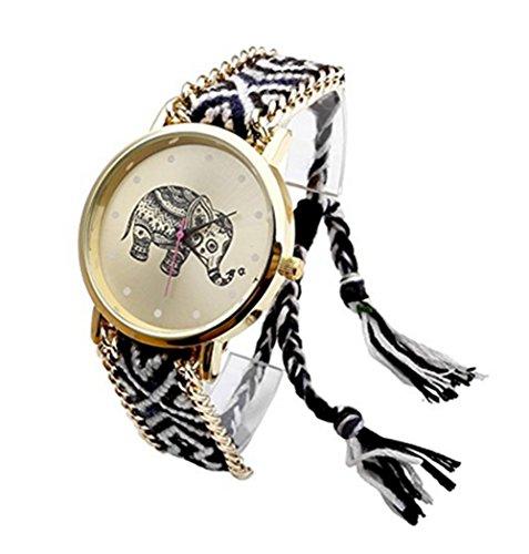 YARBAR Mode Damen Elefanten Muster Uhren Bunt Gewebter Seil Quartz Armbanduhr Goldenes Zifferblatt Grau