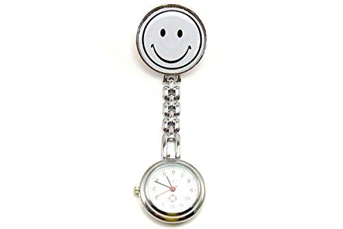 YARBAR Smiley Gesicht Krankenschwester Tabelle Taschenuhr mit einer Kette Quarzuhr Analog Uhr