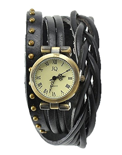 YARBAR Damen Weben Lederuhr Rivet Armbanduhr Vintage Uhren Roemisch Ziffern Quarzuhren