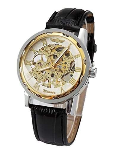 YARBAR Edelstahl Skelett Mechanische Uhr Luxury Lederarmband Armbanduhr