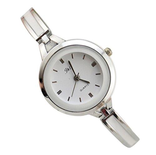 YARBAR Modetrend Damen Retro Diamant Quarz Uhr Einfacher und Eleganter Alloy Armband Uhren Weiss und Silber