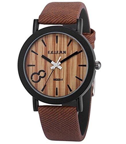 YARBAR Modische Herren Vintage Holzmaserung Skala Wahl Lederband Uhr Braun