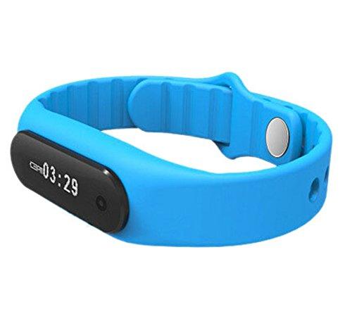 YARBAR Herren Damen E06 Smart Armband Pedometer Unterstuetzung IOS und Android System Anrufe Sport Armband Einbrecher wasserdichte Schwimmen IP67 LCD Touch Bildschirm Blau