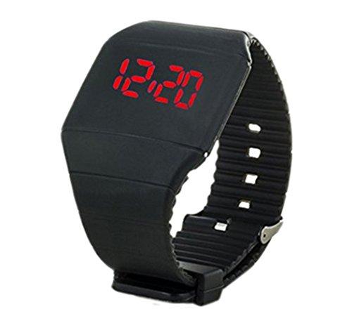 YARBAR Unisex Silikon Armband LED Uhr Suessigkeitfarben Sport Digitaluhr Einfach zu bedienen schwarz