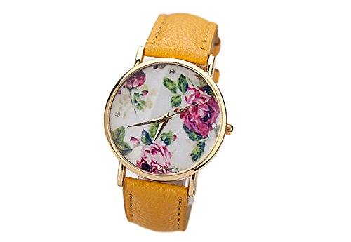 YARBAR Vintage Blume Basel Stil Quarzuhr Lederarmband Uhr Top Watch