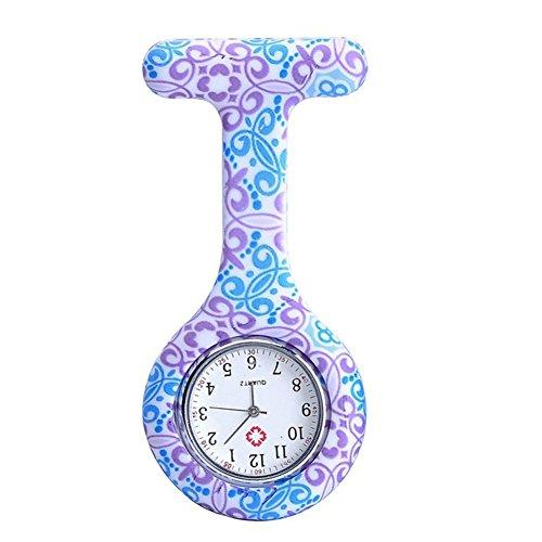 YARBAR Runde grosse Vorwahlknopf Gelee Silikon Medizinische Krankenschwester Brosche Farbe Uhr Lila und Blau