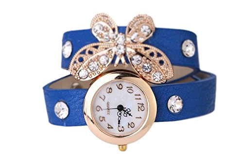 YARBAR Frauen Weinlese Rhinestone Armband Chronograph Leder Armbanduhren Schmetterling Quarzuhr