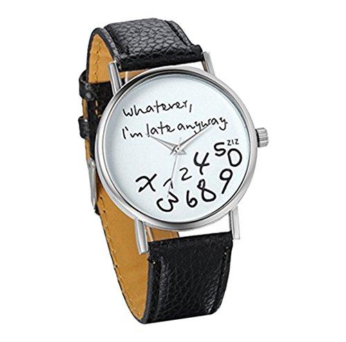 YARBAR Whatever I am late anyway Mode Uhren Lederband Armbanduhr Herren Damen Quarzuhren Schwarz