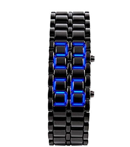 YARBAR Mode Edelstahl LED Armbanduhr kuehlen Quartz Uhr Lava LED Kette Tisch Schwarz und Blau