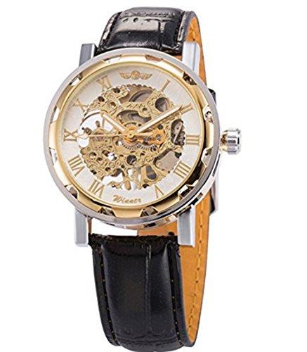 YARBAR Elegante Herren Business Casual Lederarmband Uhr Hohle Mechanische Uhren Weiss und Gold