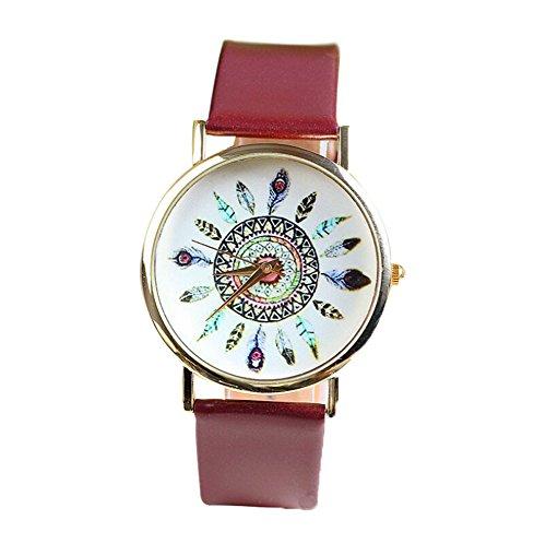 YARBAR Mode Goldpfaufedern Armbanduhr Frauen Quarz Uhren Lederuhr Chronograph