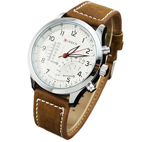 YARBAR Herren sportlich Uhren Modeuhren Leder Armbanduhr Quarz Uhren Leuchtende Nacht Uhr Weiss