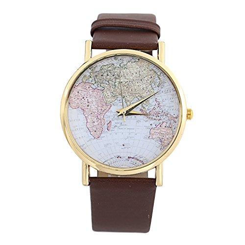 YARBAR Weltkarte der Damenmode Globus Armbanduhr Leder Quartz Analog Uhren