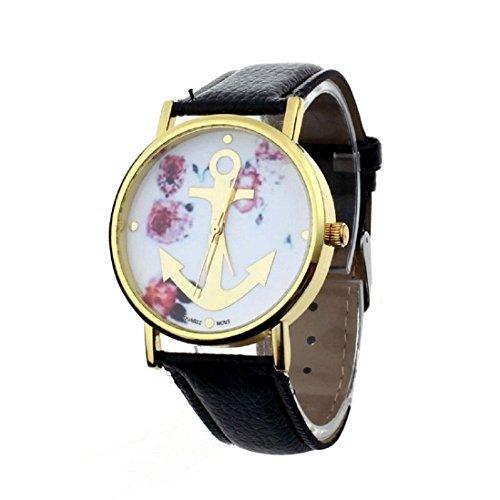 Meily Damen Leder mit Blumenmuster Anchor Quarz Kleid Armbanduhr schwarz