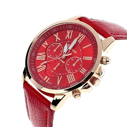 Meily Frauen roemische Ziffern Leder Analog Quarz Uhr rote