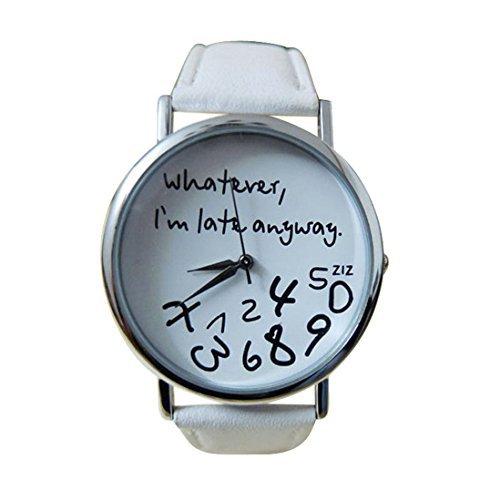 Meily Heisse Frauen Leder Uhr Was immer ich bin spaet auch immer Schreiben Uhren Weiss