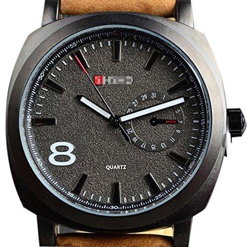 Meily Sport Uhren Maenner Military Lederband Maenner Handgelenk Quarzuhr schwarz