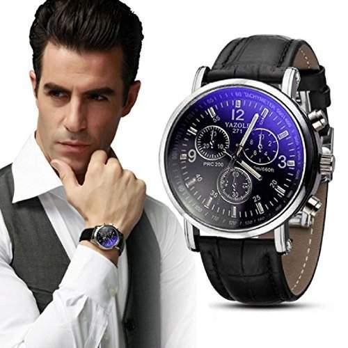 Meily Herren Krokodil-Leder-Analog-Uhr-Uhren