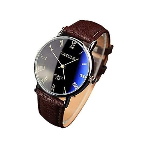 Meily Herren-Leder-Quarz-analoge Uhr-Uhren braun
