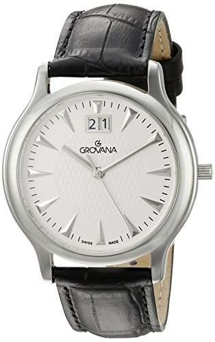 GROVANA 10301532 MenSchweizer Quarz-Uhr mit weissem Zifferblatt Analog-Anzeige und schwarzem Lederarmband