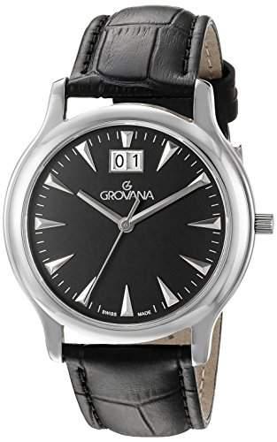 GROVANA 10301537 MenSchweizer Quarz-Uhr mit schwarzem Zifferblatt Analog-Anzeige und schwarzem Lederarmband
