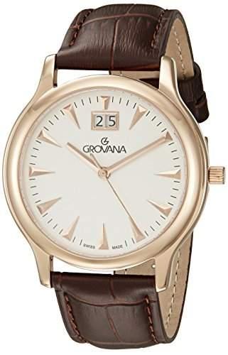 GROVANA 10301562 Menschweizer Uhr Armbanduhr Analog Quarz Leder braun KL101