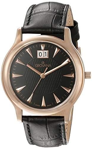GROVANA 10301567 MenSchweizer Quarz-Uhr mit schwarzem Zifferblatt Analog-Anzeige und schwarzem Lederarmband