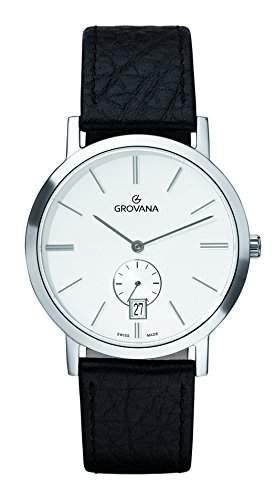 Grovana Herren Armbanduhr 10501532 Analog Leder schwarz 10501532