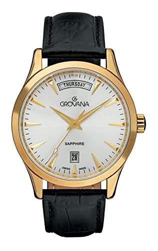Grovana 12011512Herren Schweizer Uhr mit Quarz Silber Zifferblatt Analog-Anzeige und schwarz Lederband