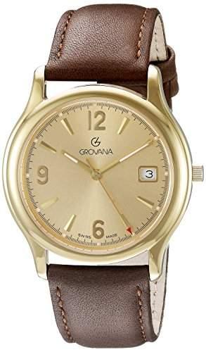 GROVANA 12071111 Menmit schweizer Uhr Armbanduhr Analog Quarz Leder braun KL101