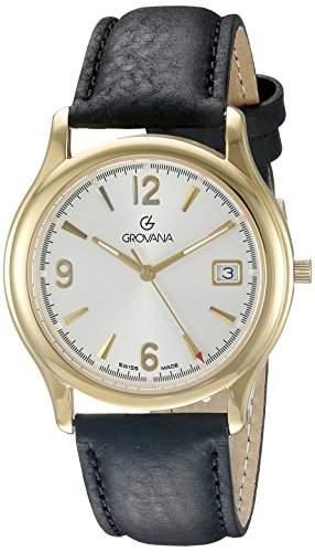 GROVANA 12071112 Menschweizer Uhr Armbanduhr Analog Leder schwarz
